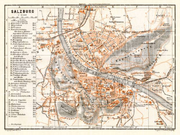 Salzburg city map, 1911. Use the zooming tool to explore in higher level of detail. Obtain as a quality print or high resolution image