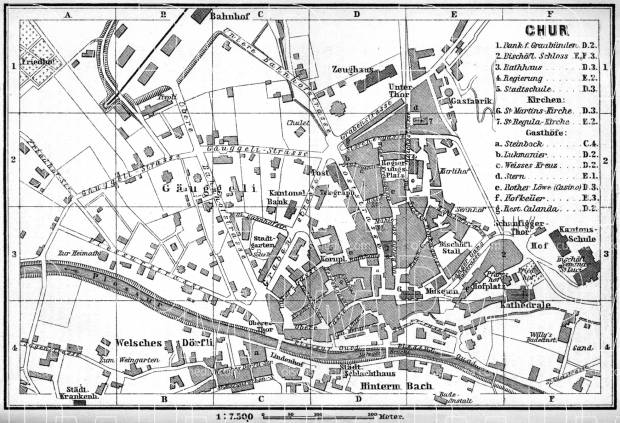 Chur city map, 1897. Use the zooming tool to explore in higher level of detail. Obtain as a quality print or high resolution image