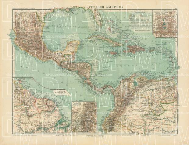 Central America Map (in Russian), 1910. Use the zooming tool to explore in higher level of detail. Obtain as a quality print or high resolution image