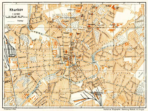 Kharkov (Kharkiv) city map, 1928. Use the zooming tool to explore in higher level of detail. Obtain as a quality print or high resolution image