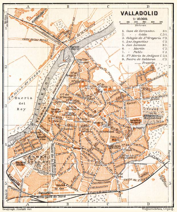 Valladolid city map, 1899. Use the zooming tool to explore in higher level of detail. Obtain as a quality print or high resolution image