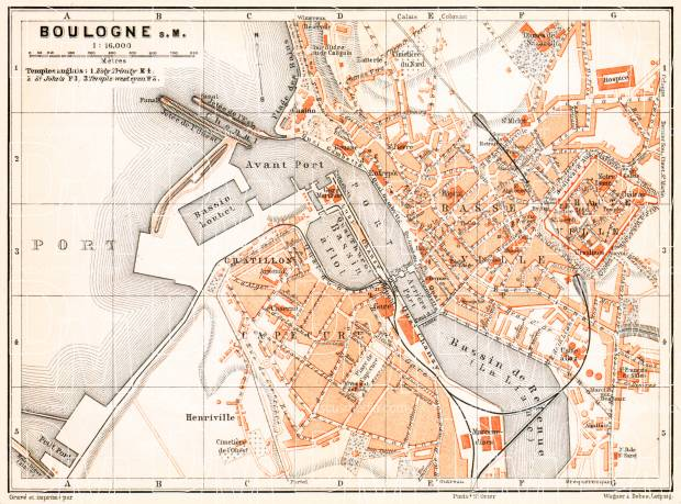 Boulogne-sur-Mer city map, 1910. Use the zooming tool to explore in higher level of detail. Obtain as a quality print or high resolution image