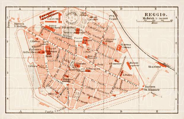 Reggio (Reggio Emilia) city map, 1903. Use the zooming tool to explore in higher level of detail. Obtain as a quality print or high resolution image