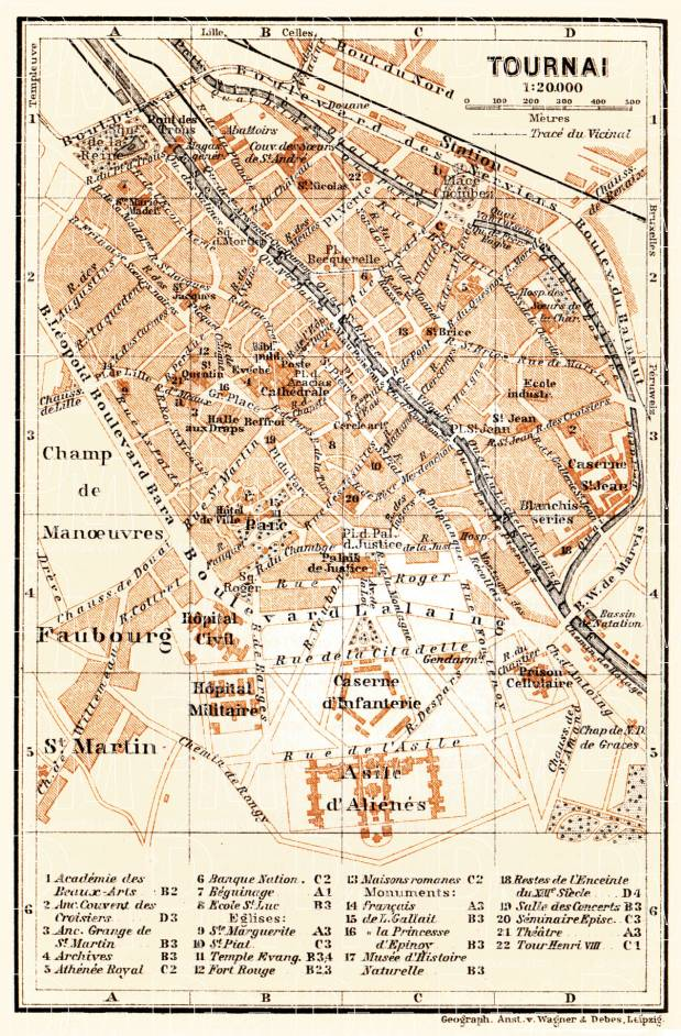 Tournai city map, 1904. Use the zooming tool to explore in higher level of detail. Obtain as a quality print or high resolution image