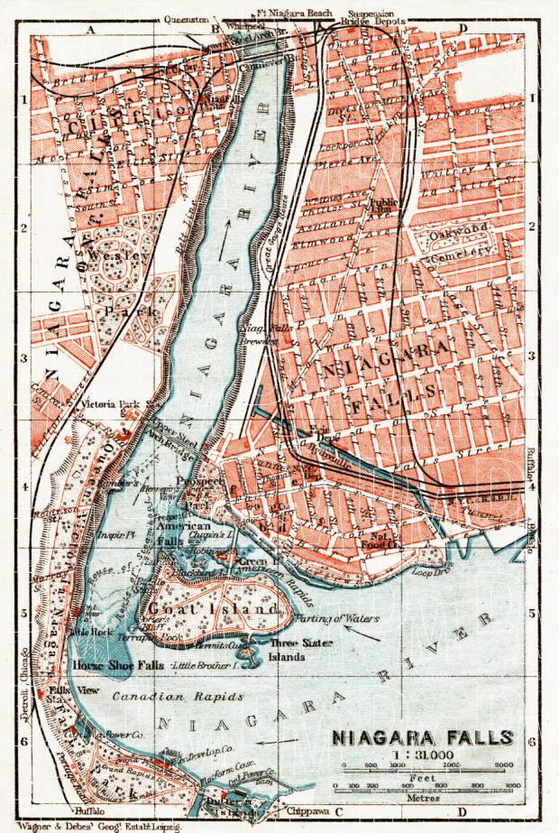 Niagara Falls city map, 1909. Use the zooming tool to explore in higher level of detail. Obtain as a quality print or high resolution image