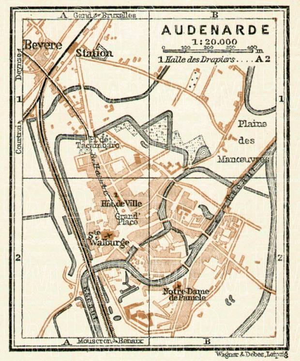 Audenarde city map, 1909. Use the zooming tool to explore in higher level of detail. Obtain as a quality print or high resolution image