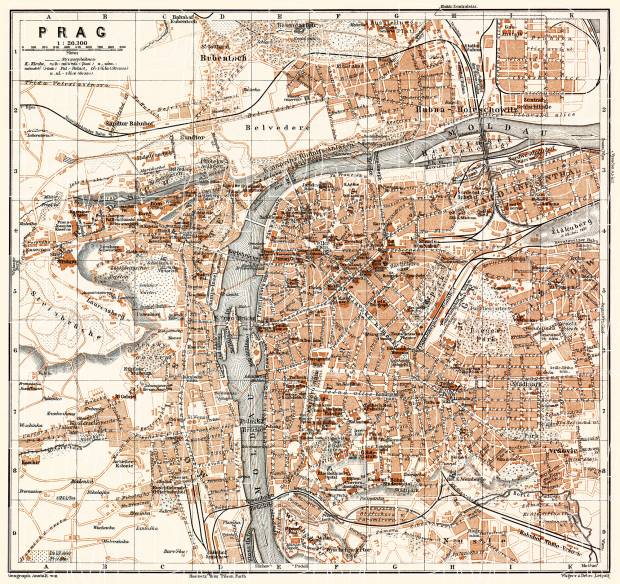Prag (Prague, Praha), city map (names in Czech), 1911. Use the zooming tool to explore in higher level of detail. Obtain as a quality print or high resolution image