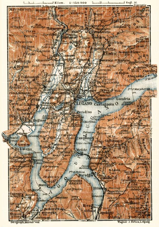 Lugano and environs map, 1913. Use the zooming tool to explore in higher level of detail. Obtain as a quality print or high resolution image
