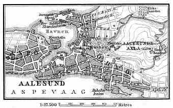 Norway Vintage Map Reproduction Prints And Images For Sale And - Norway map alesund