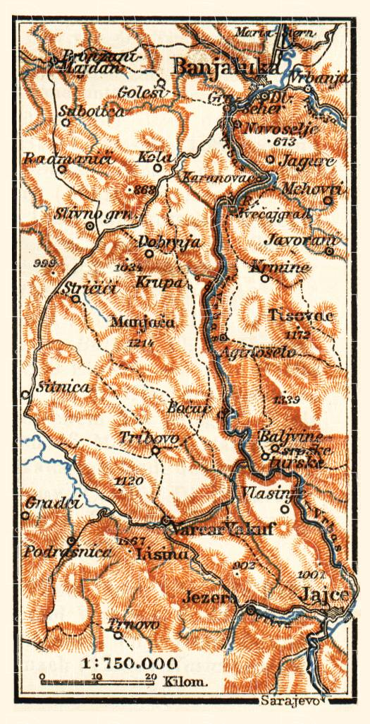 Vrbas River Valley from Jaice to Banja Luka, 1911. Use the zooming tool to explore in higher level of detail. Obtain as a quality print or high resolution image