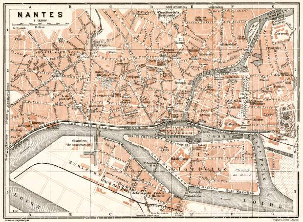Nantes city map, 1909. Use the zooming tool to explore in higher level of detail. Obtain as a quality print or high resolution image