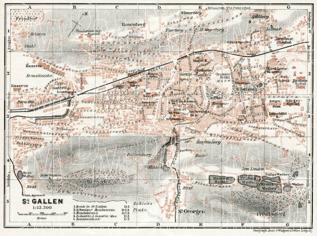 St. Gallen city map, 1909. Use the zooming tool to explore in higher level of detail. Obtain as a quality print or high resolution image