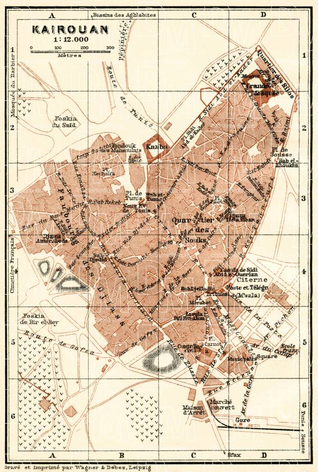 Kairouan city map, 1909. Use the zooming tool to explore in higher level of detail. Obtain as a quality print or high resolution image