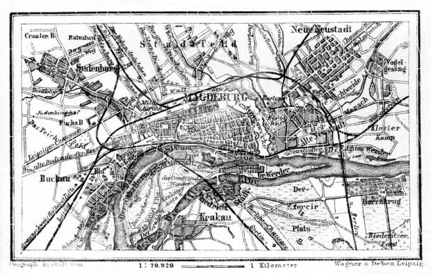 Magdeburg and environs map, 1887. Use the zooming tool to explore in higher level of detail. Obtain as a quality print or high resolution image