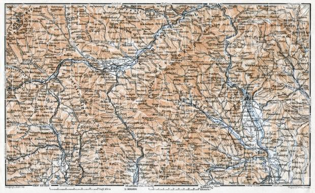 Carinthian-Styrian Alps (Steirisch-Kärntnerische Alpen) from Murau to Gleisdorf district map, 1910. Use the zooming tool to explore in higher level of detail. Obtain as a quality print or high resolution image