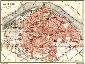 Historical map prints of Avignon in France for sale and download