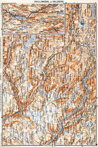 Hallingdal and Valders area map, 1910