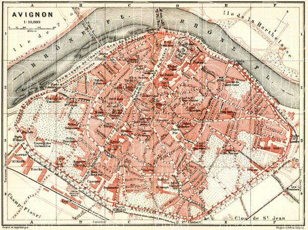 Avignon city map, 1885. Use the zooming tool to explore in higher level of detail. Obtain as a quality print or high resolution image