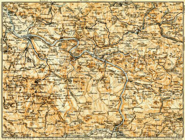 Sächsische Schweiz (Saxonian Switzerland) map, 1906. Use the zooming tool to explore in higher level of detail. Obtain as a quality print or high resolution image