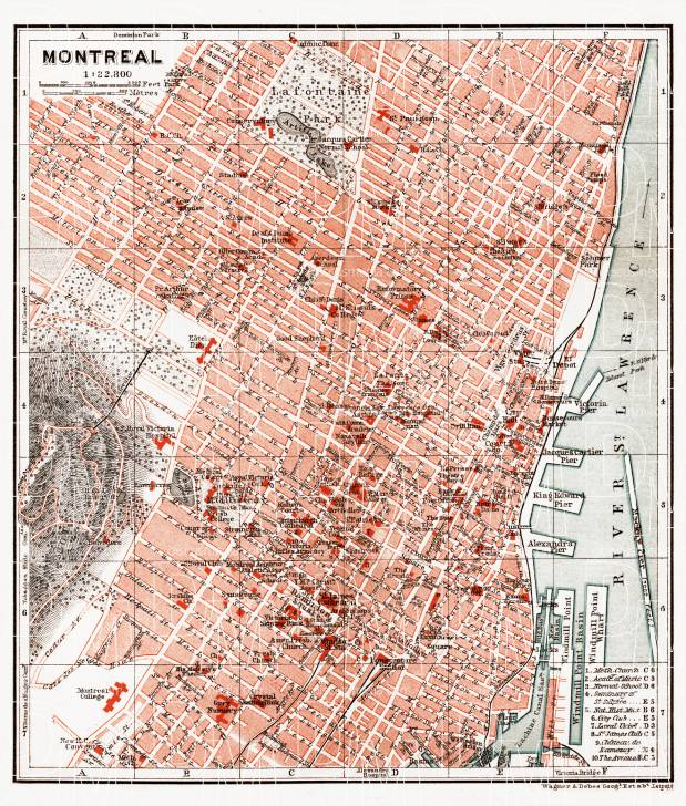 Old map of Montreal in 1907. Buy vintage map replica poster print or ...
