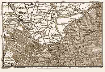 Turin (Torino) and environs map, 1898