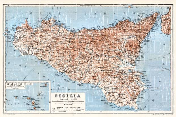 Sicilia (Sicily) map with Lipari Isle map inset, 1912. Use the zooming tool to explore in higher level of detail. Obtain as a quality print or high resolution image
