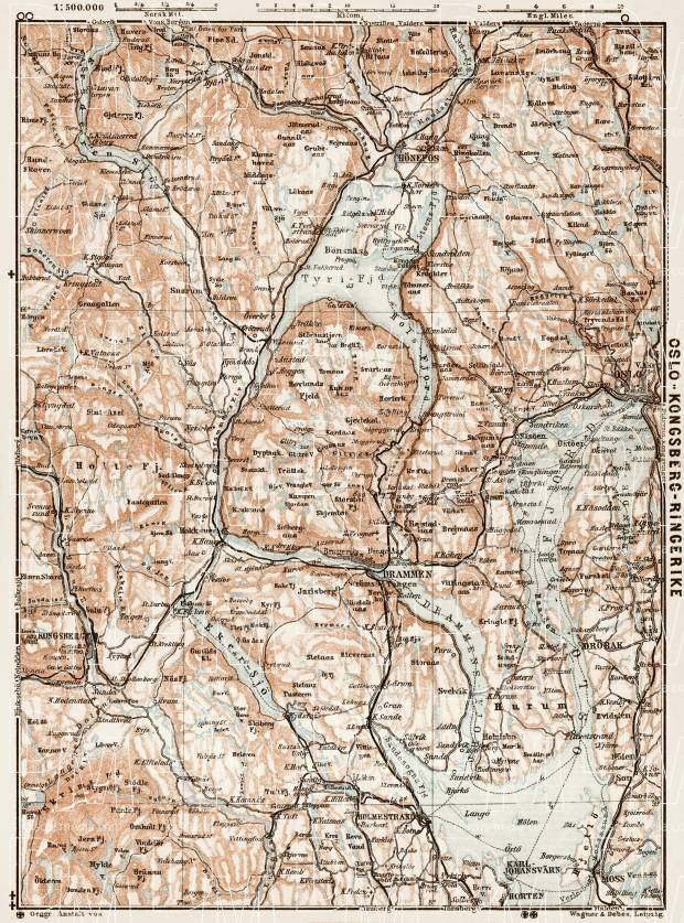 Oslo - Kongsberg - Ringerike region map, 1931. Use the zooming tool to explore in higher level of detail. Obtain as a quality print or high resolution image