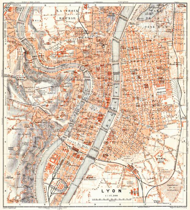 Lyon city map, 1913. Use the zooming tool to explore in higher level of detail. Obtain as a quality print or high resolution image