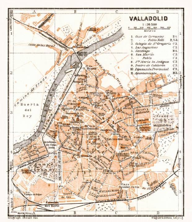 Valladolid city map, 1929. Use the zooming tool to explore in higher level of detail. Obtain as a quality print or high resolution image