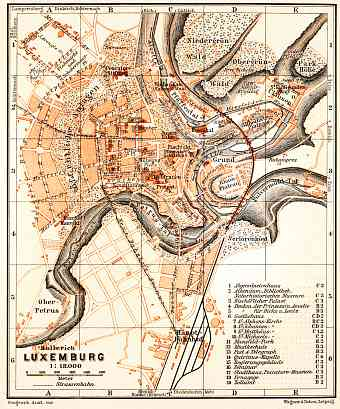 Luxembourg (Luxemburg) city map, 1904