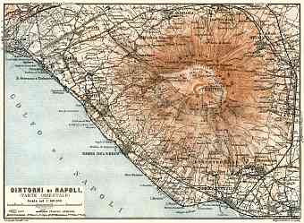 Naples (Napoli) environs map, eastern part map, 1929