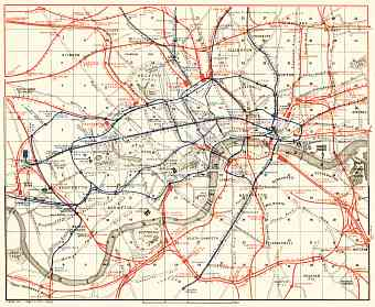 London, rail and tube network map, 1906