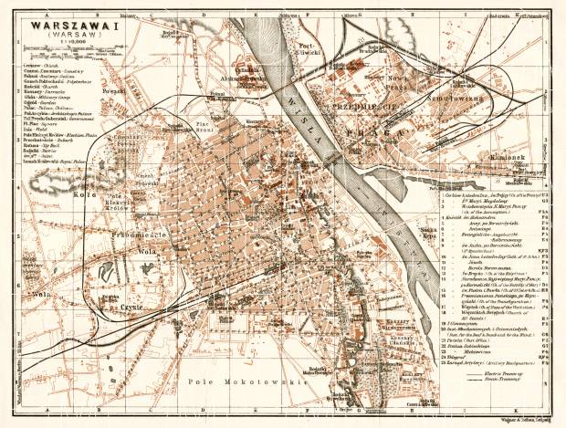 Warsaw (Варшава, Warschau, Warszawa) city map, 1914. Use the zooming tool to explore in higher level of detail. Obtain as a quality print or high resolution image