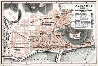 Alicante city map, 1913