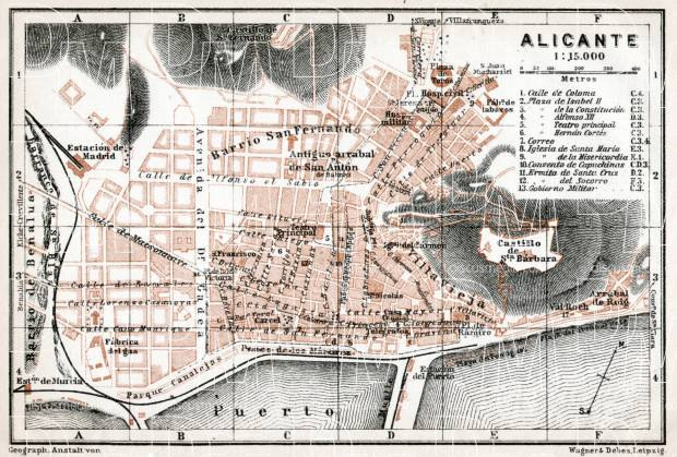 Alicante city map, 1913. Use the zooming tool to explore in higher level of detail. Obtain as a quality print or high resolution image