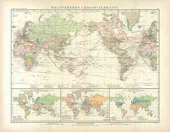 World Map of the International Transport and Colonial Possessions, 1905