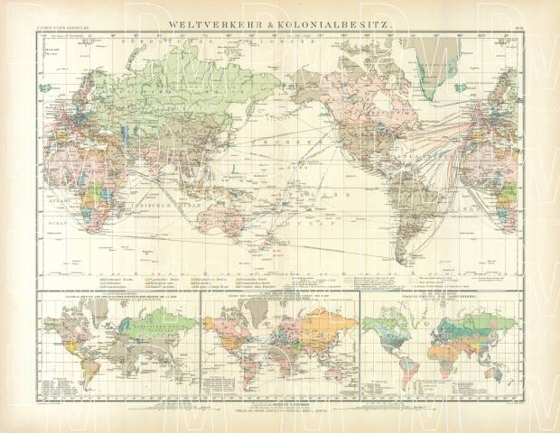 World Map of the International Transport and Colonial Possessions, 1905. Use the zooming tool to explore in higher level of detail. Obtain as a quality print or high resolution image