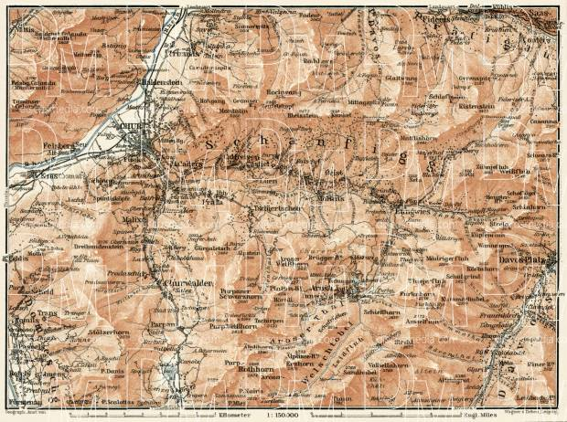 Chur and Arosa environs map (with Schanfigg), 1909. Use the zooming tool to explore in higher level of detail. Obtain as a quality print or high resolution image