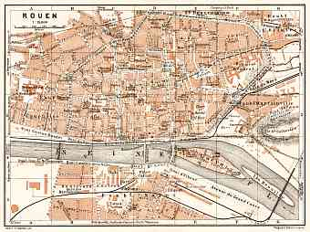 Rouen city map, 1909