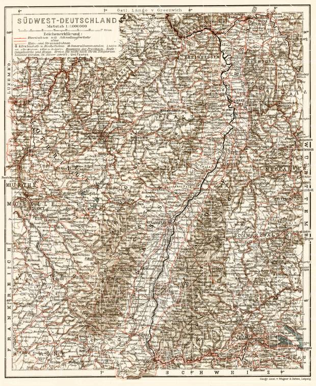 Germany, southwestern provinces. General map, 1906. Use the zooming tool to explore in higher level of detail. Obtain as a quality print or high resolution image