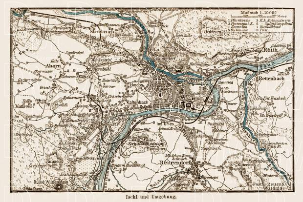 Ischl (Bad Ischl) and environs map, 1903. Use the zooming tool to explore in higher level of detail. Obtain as a quality print or high resolution image