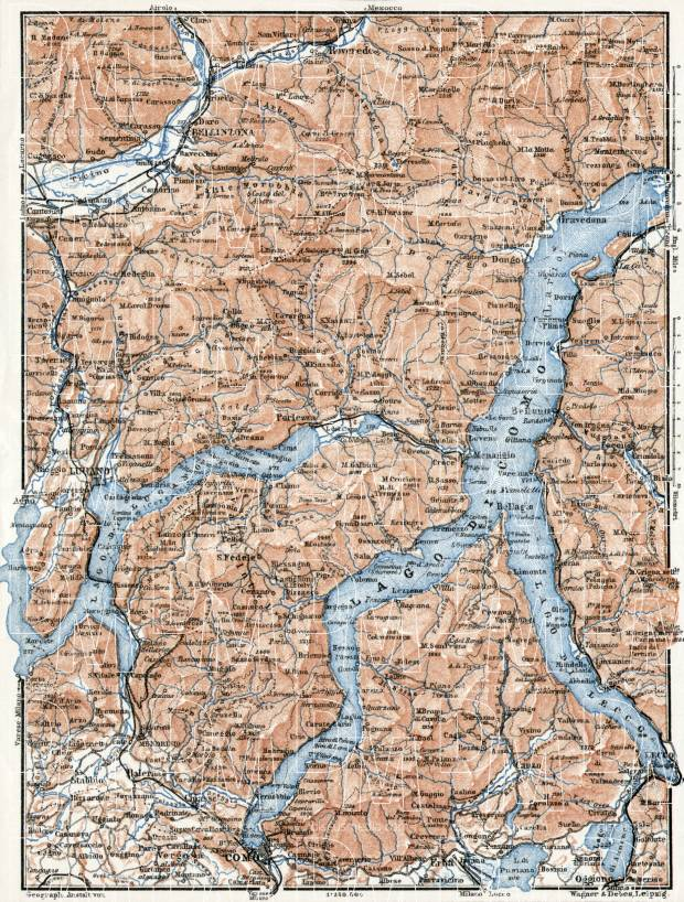 Como and Lugano Lakes map, 1909. Use the zooming tool to explore in higher level of detail. Obtain as a quality print or high resolution image