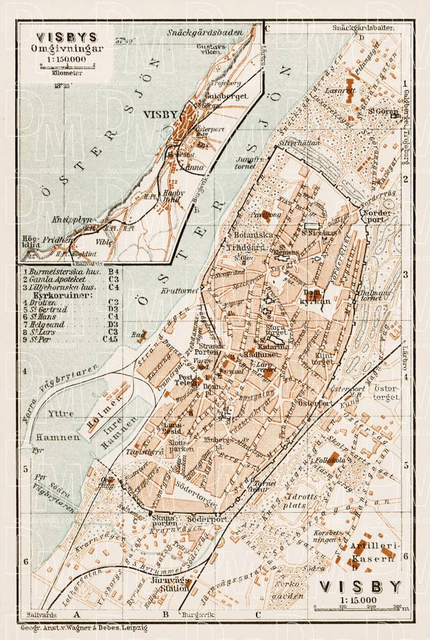 Visby (Wisby) city map, with map of Visby suburbs, 1929. Use the zooming tool to explore in higher level of detail. Obtain as a quality print or high resolution image