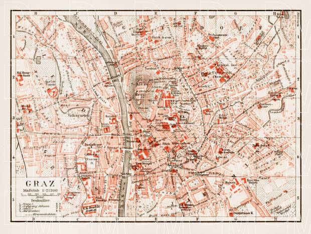 Old map of Graz in 1903 Buy vintage map replica poster print or