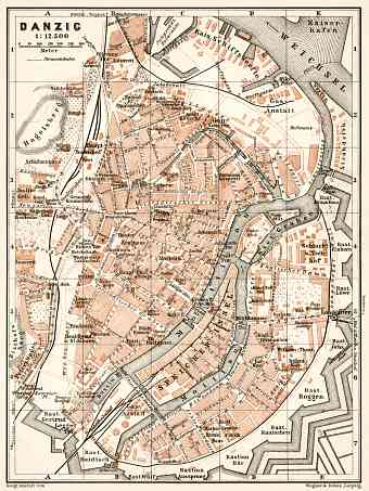 Danzig (Gdańsk) city map, 1911