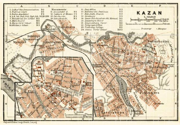 Kazan (Казань) city map, 1914. Use the zooming tool to explore in higher level of detail. Obtain as a quality print or high resolution image