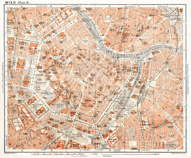 Vienna (Wien), central part map, 1911. Use the zooming tool to explore in higher level of detail. Obtain as a quality print or high resolution image