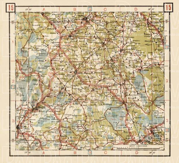 Estonian Road Map, Plate 15: Järva-Jaani. 1938. Use the zooming tool to explore in higher level of detail. Obtain as a quality print or high resolution image