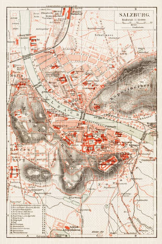 Salzburg city map, 1903. Use the zooming tool to explore in higher level of detail. Obtain as a quality print or high resolution image
