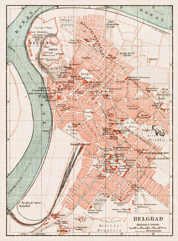 Belgrade (Београд, Beograd) city map, 1903. Use the zooming tool to explore in higher level of detail. Obtain as a quality print or high resolution image